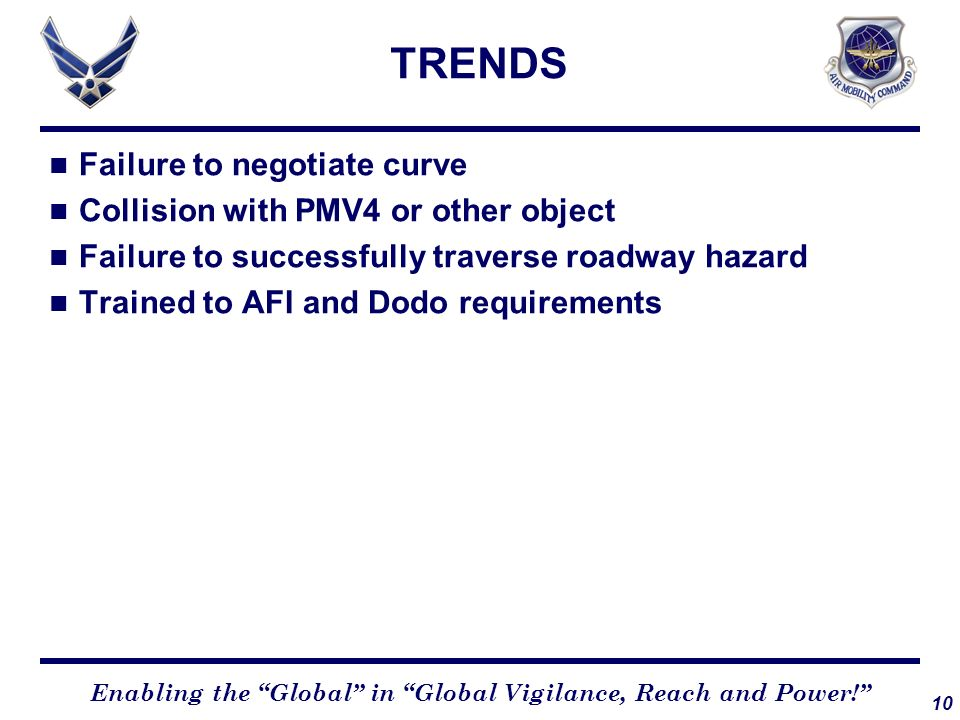 TRENDS Failure to negotiate curve Collision with PMV4 or other object