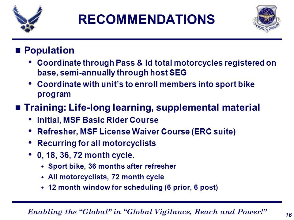 RECOMMENDATIONS Population