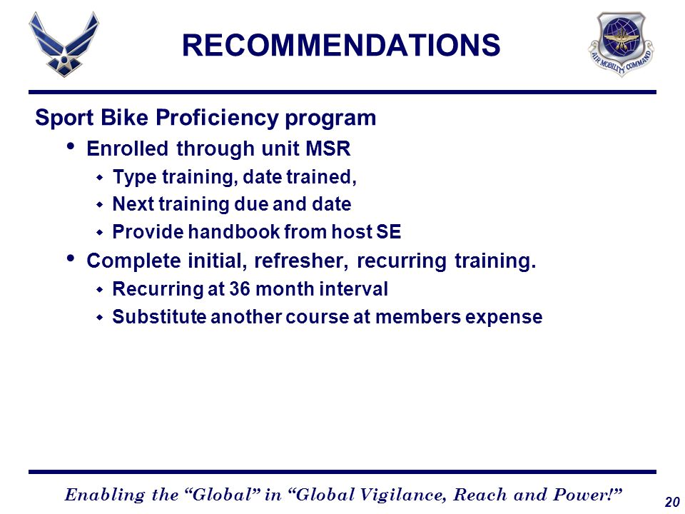 RECOMMENDATIONS Sport Bike Proficiency program
