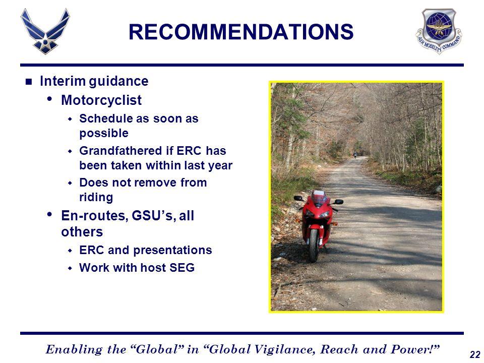 RECOMMENDATIONS Interim guidance Motorcyclist