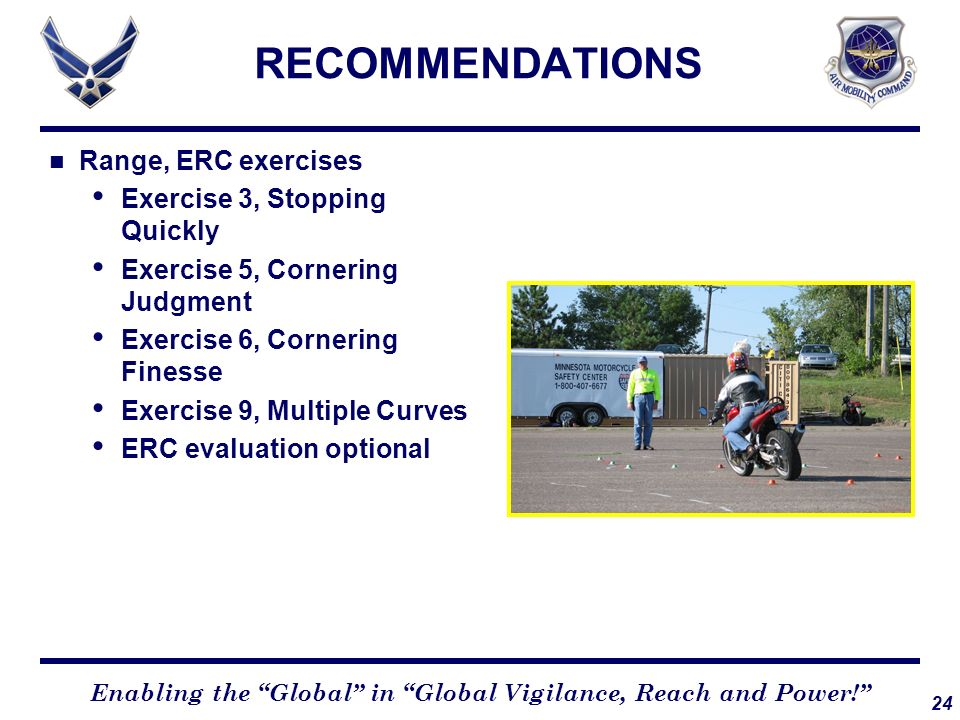 RECOMMENDATIONS Range, ERC exercises Exercise 3, Stopping Quickly