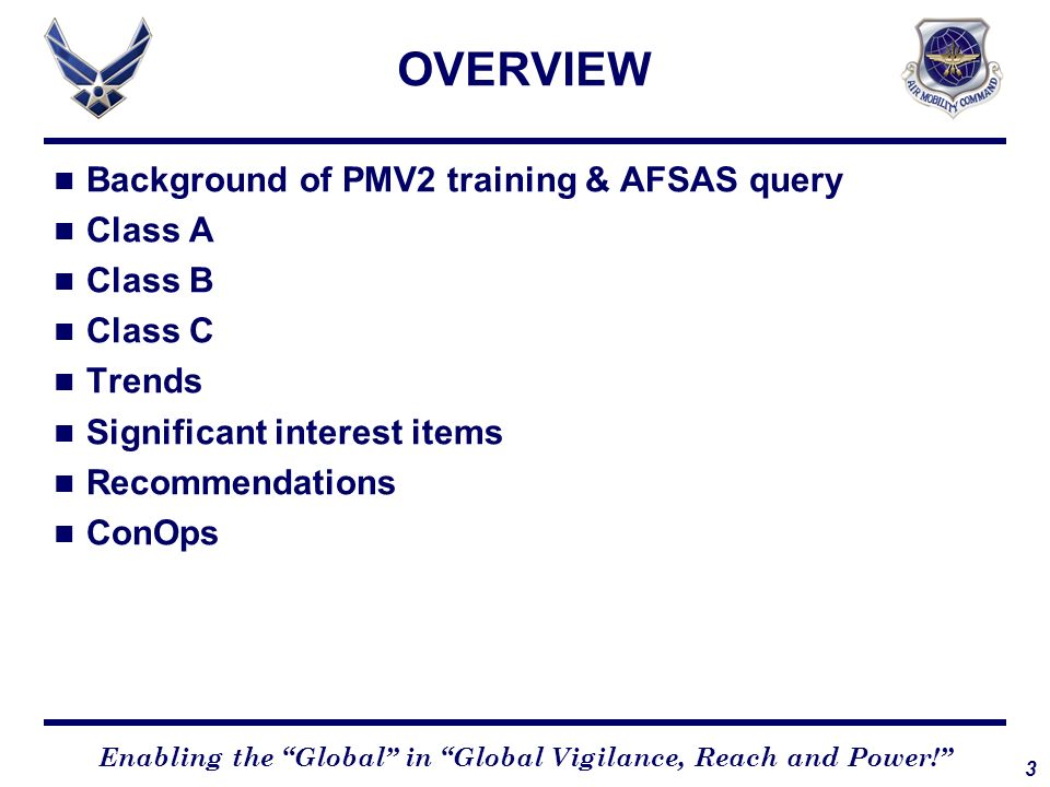OVERVIEW Background of PMV2 training & AFSAS query Class A Class B