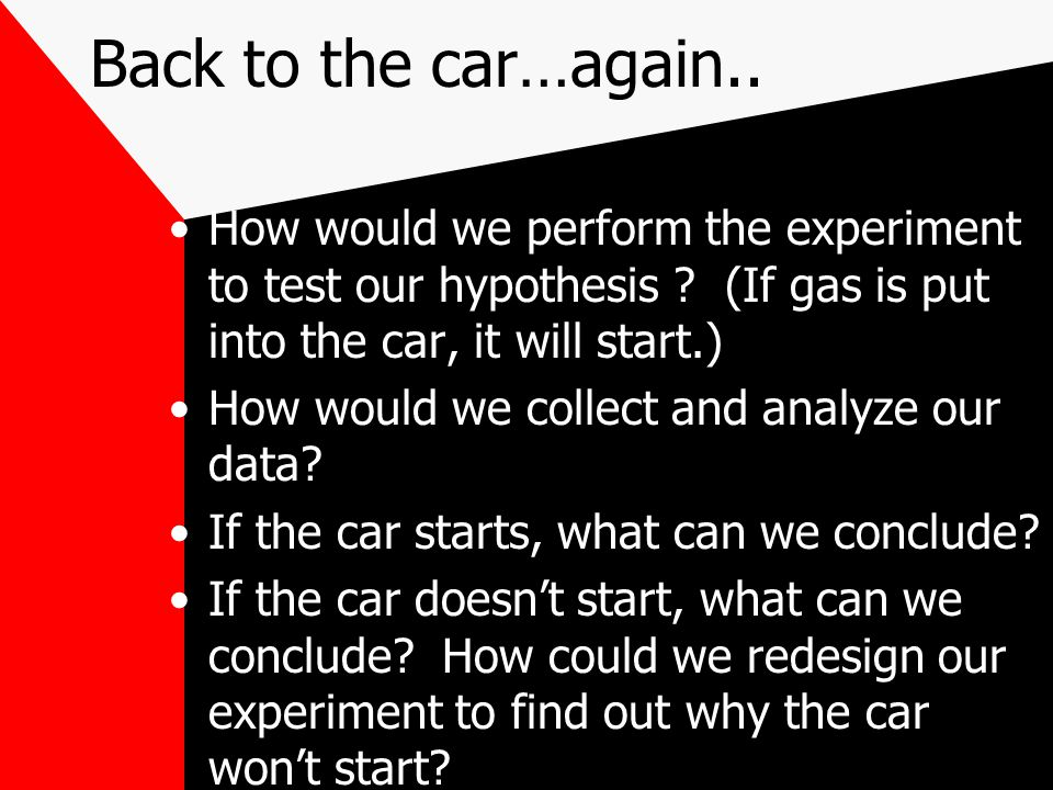 Back to the car…again.. How would we perform the experiment to test our hypothesis (If gas is put into the car, it will start.)