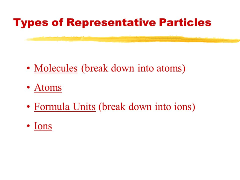 Types of Representative Particles