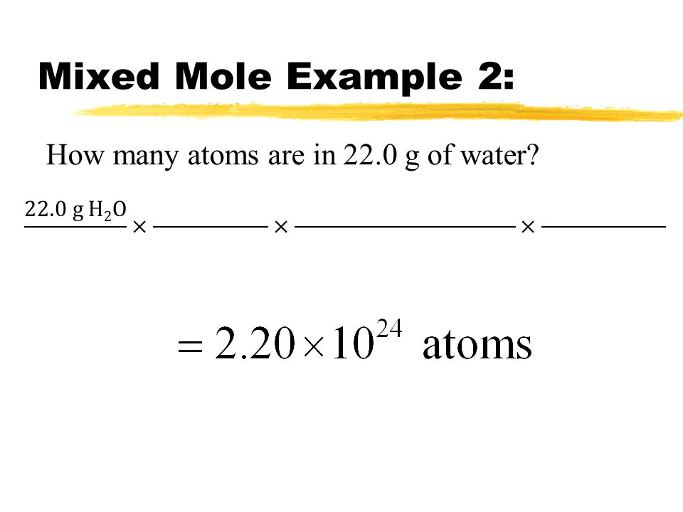 Mixed Mole Example 2: How many atoms are in 22.0 g of water