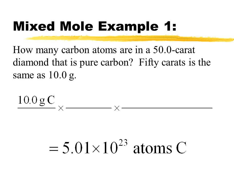 Mixed Mole Example 1: How many carbon atoms are in a 50.0-carat diamond that is pure carbon.