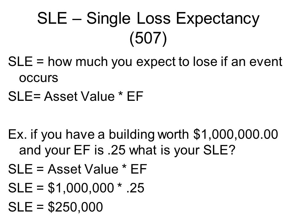 SLE – Single Loss Expectancy (507)