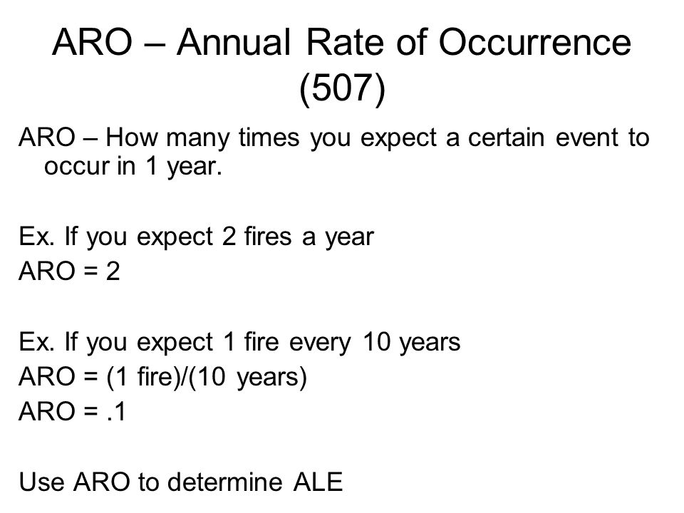 ARO – Annual Rate of Occurrence (507)