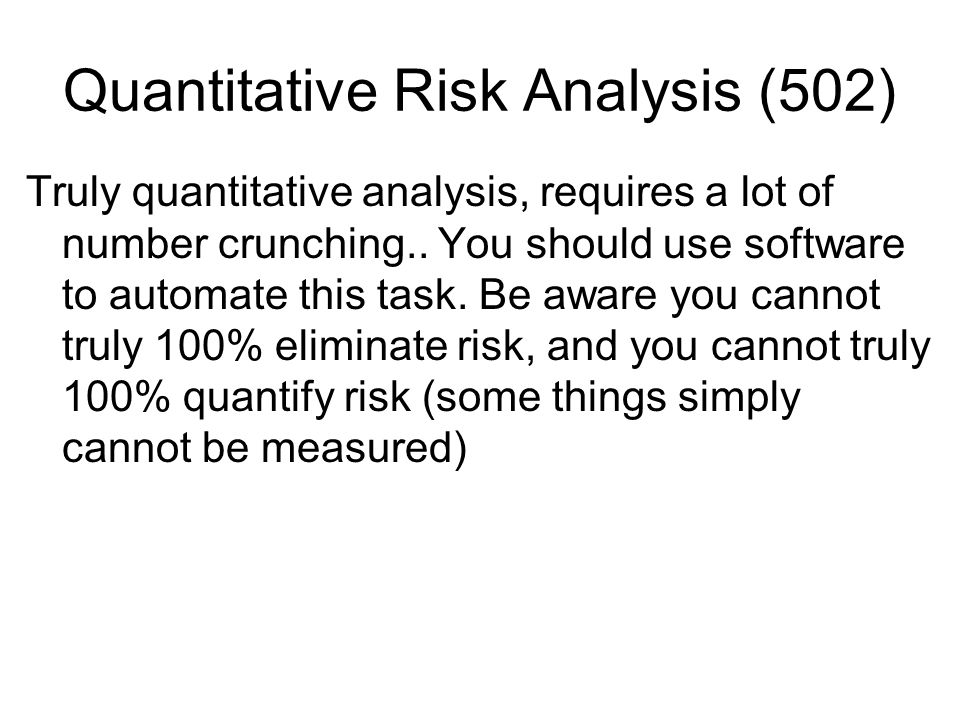 Quantitative Risk Analysis (502)