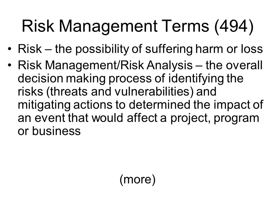 Risk Management Terms (494)