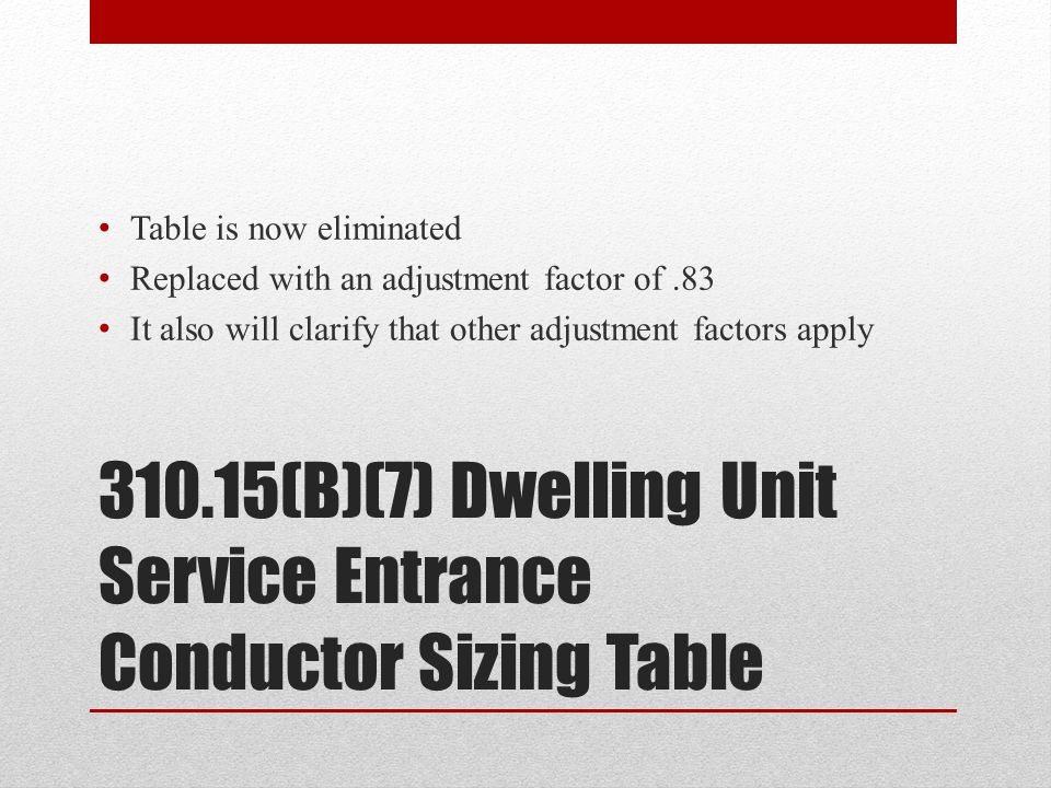 310.15(B)(7) Dwelling Unit Service Entrance Conductor Sizing Table