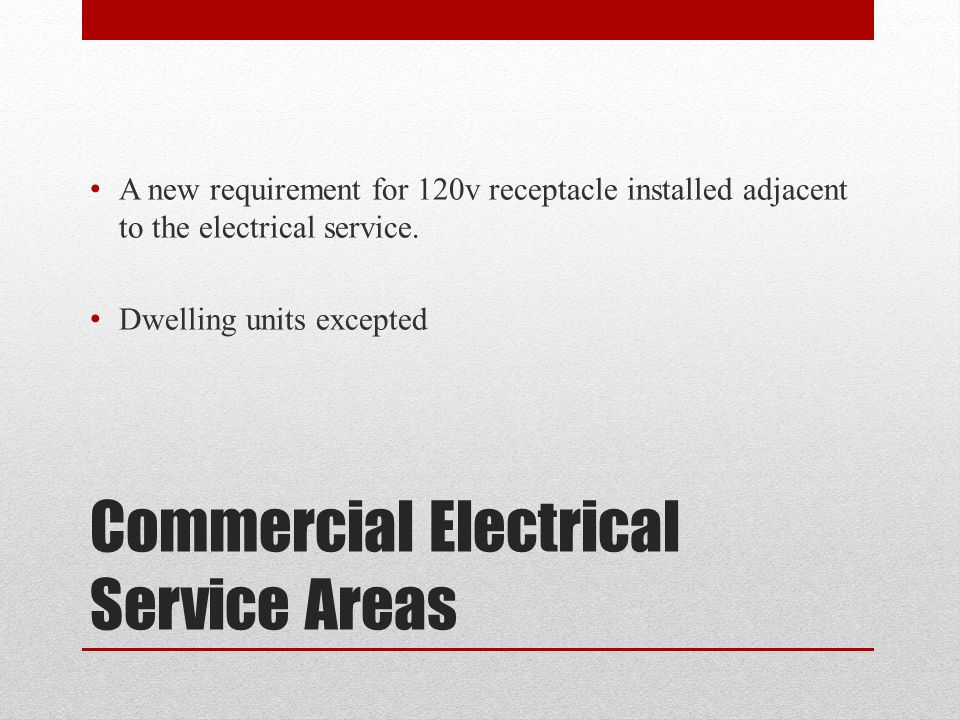 Commercial Electrical Service Areas