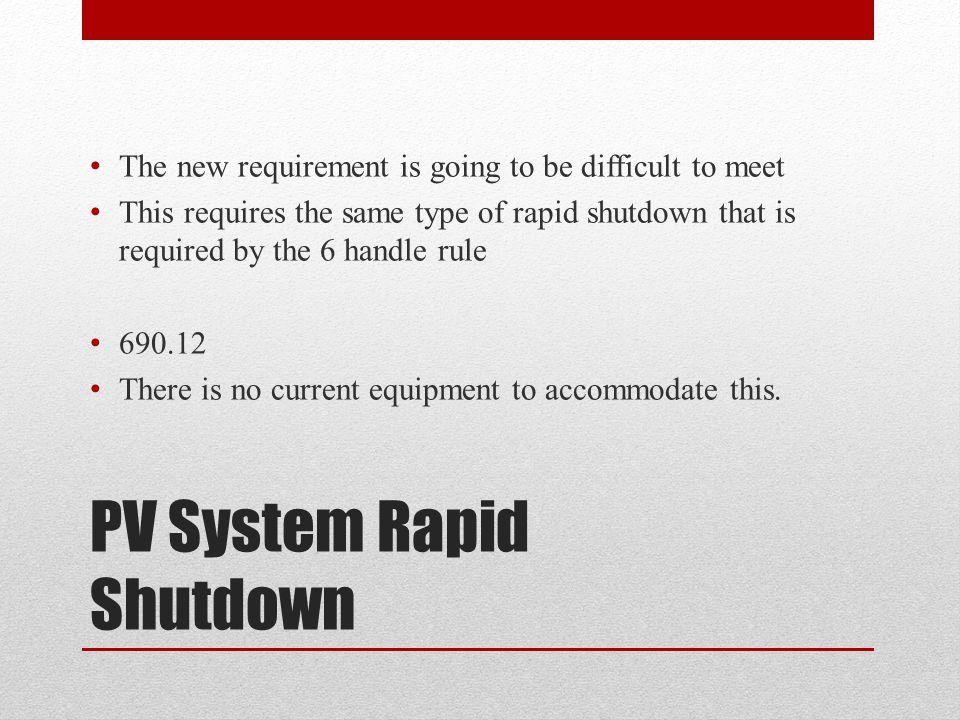 PV System Rapid Shutdown