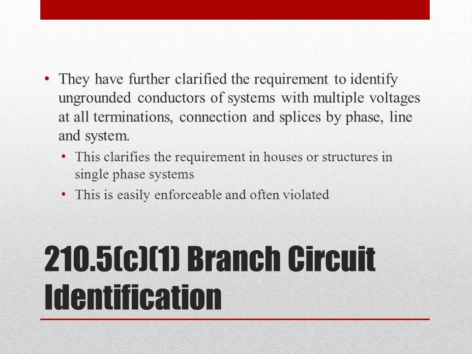 210.5(c)(1) Branch Circuit Identification