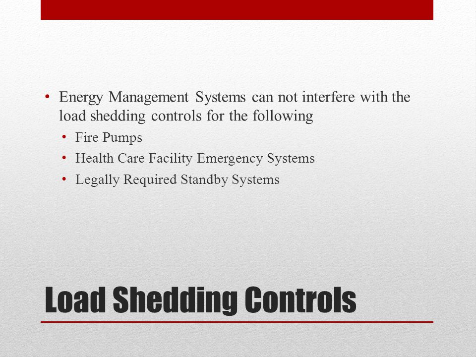 Load Shedding Controls