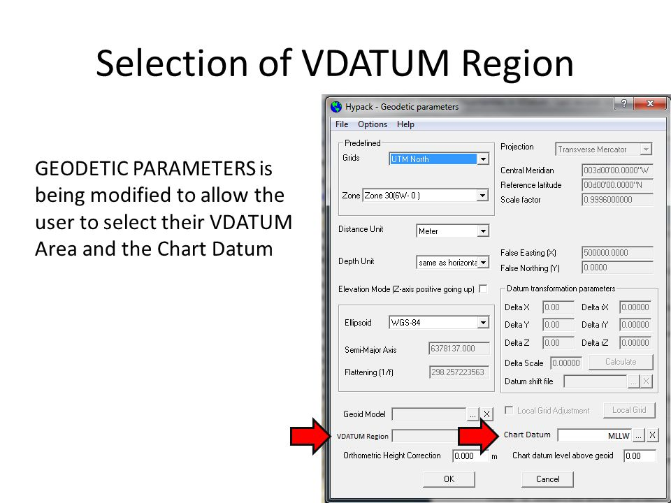 Selection of VDATUM Region