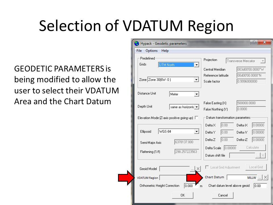 Selection of VDATUM Region