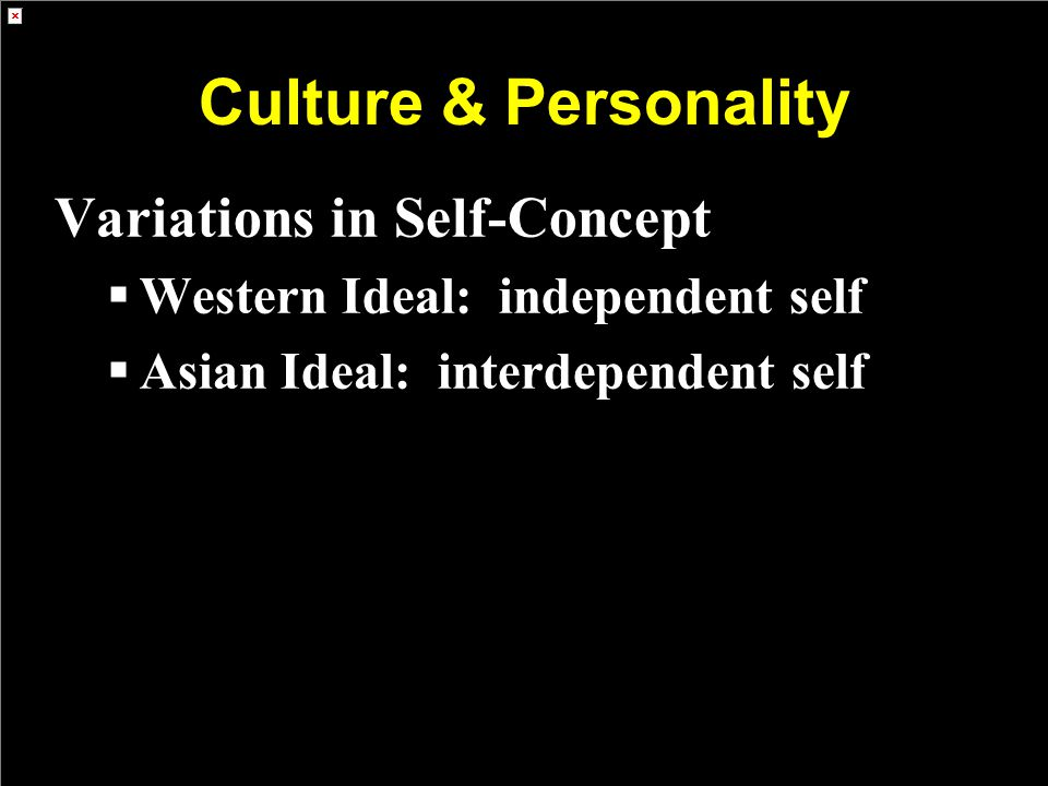Culture & Personality Variations in Self-Concept