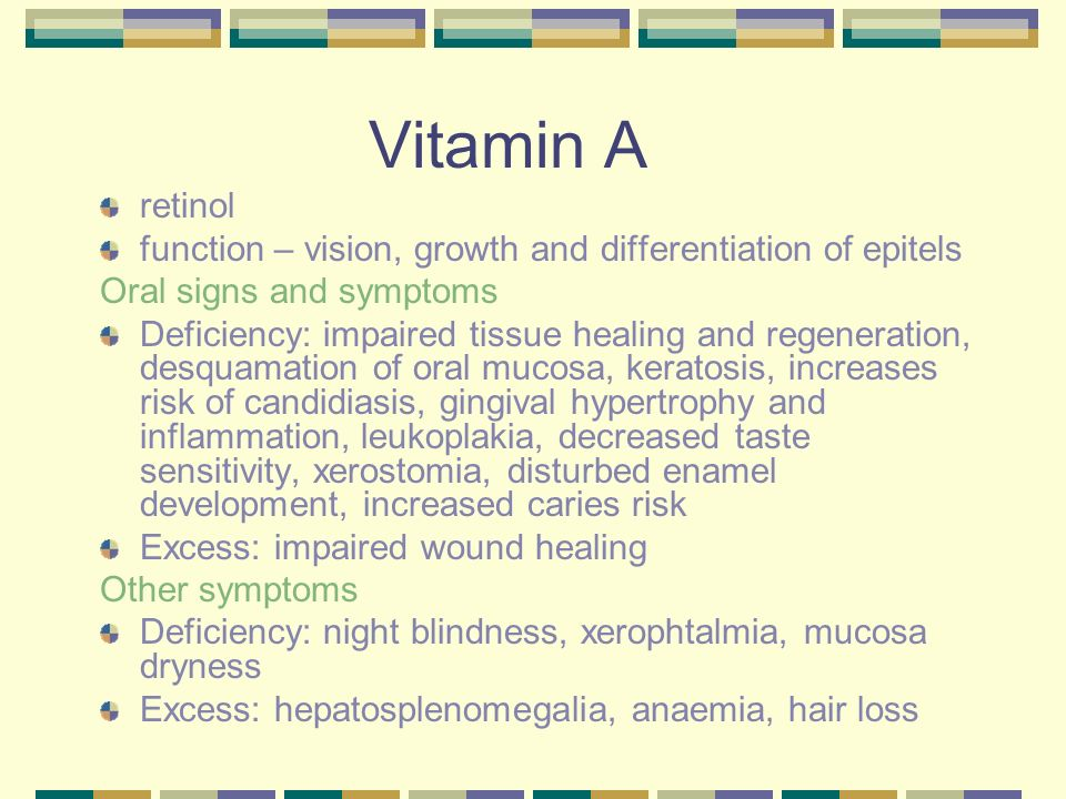 Vitamin A retinol. function – vision, growth and differentiation of epitels. Oral signs and symptoms.