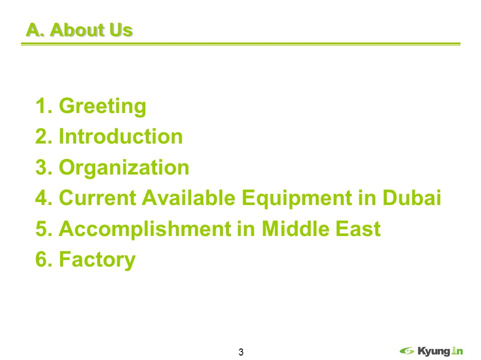 4. Current Available Equipment in Dubai