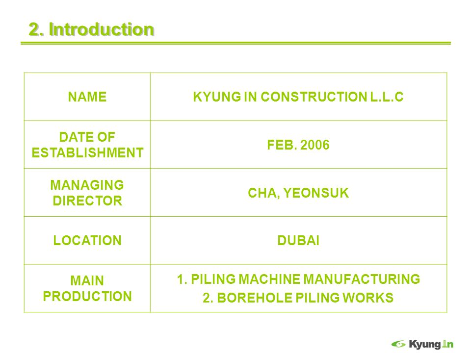 KYUNG IN CONSTRUCTION L.L.C 1. PILING MACHINE MANUFACTURING