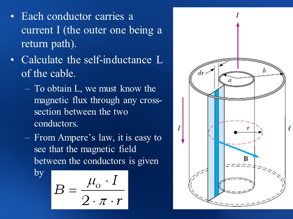 Calculate the self-inductance L of the cable.