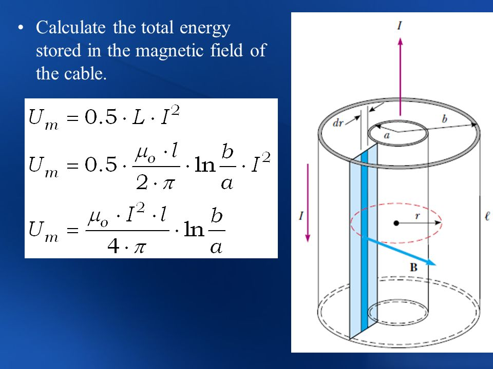 Calculate the total energy stored in the magnetic field of the cable.