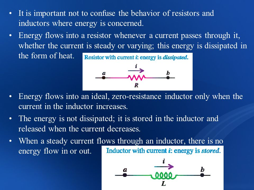 It is important not to confuse the behavior of resistors and inductors where energy is concerned.