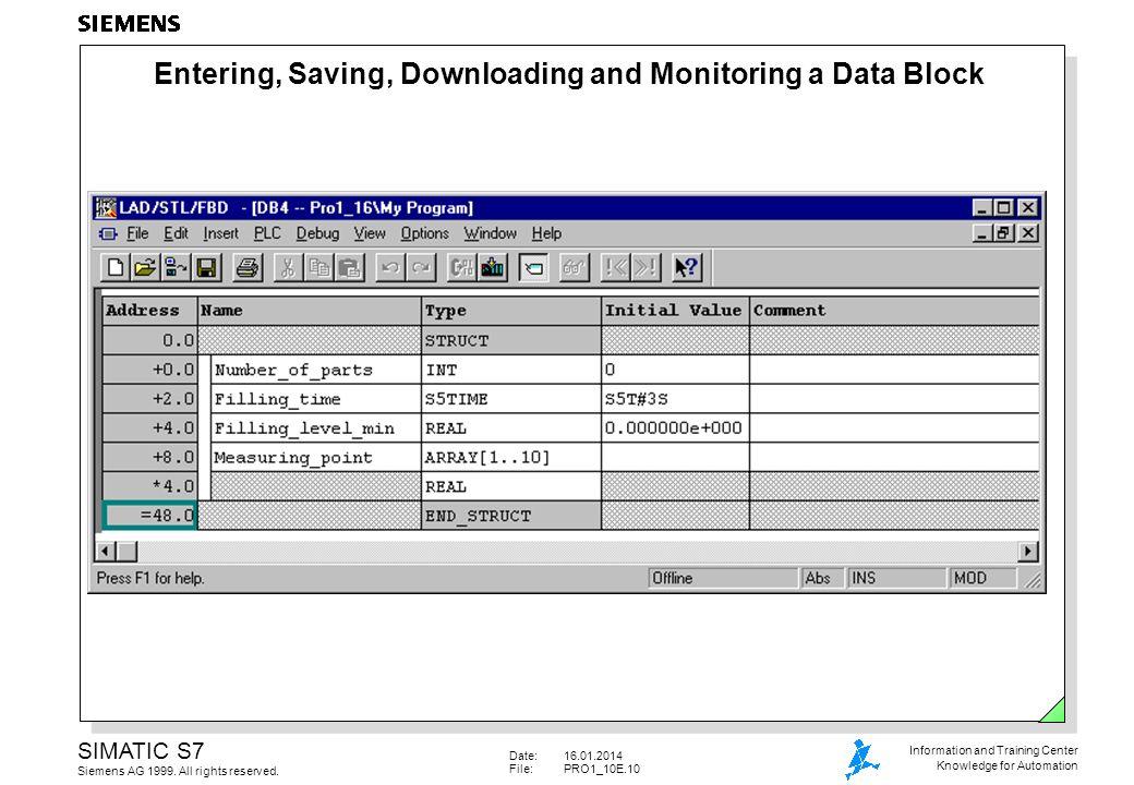 Entering, Saving, Downloading and Monitoring a Data Block