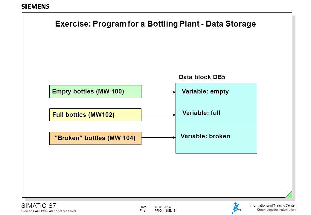 Exercise: Program for a Bottling Plant - Data Storage