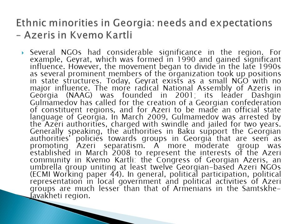 Ethnic minorities in Georgia: needs and expectations – Azeris in Kvemo Kartli