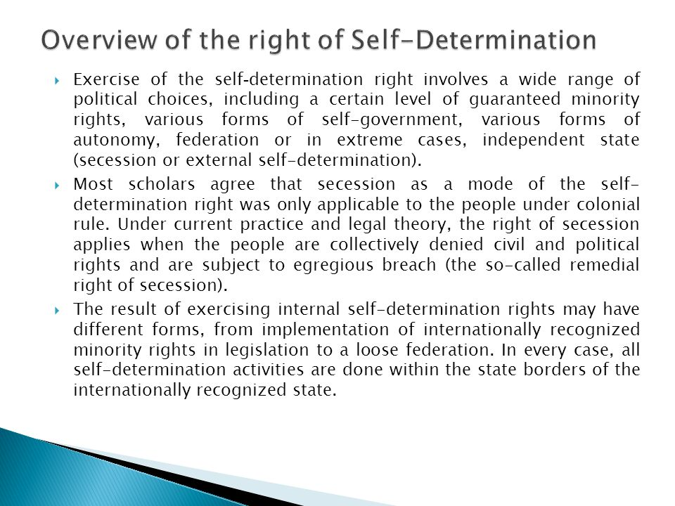 Overview of the right of Self-Determination