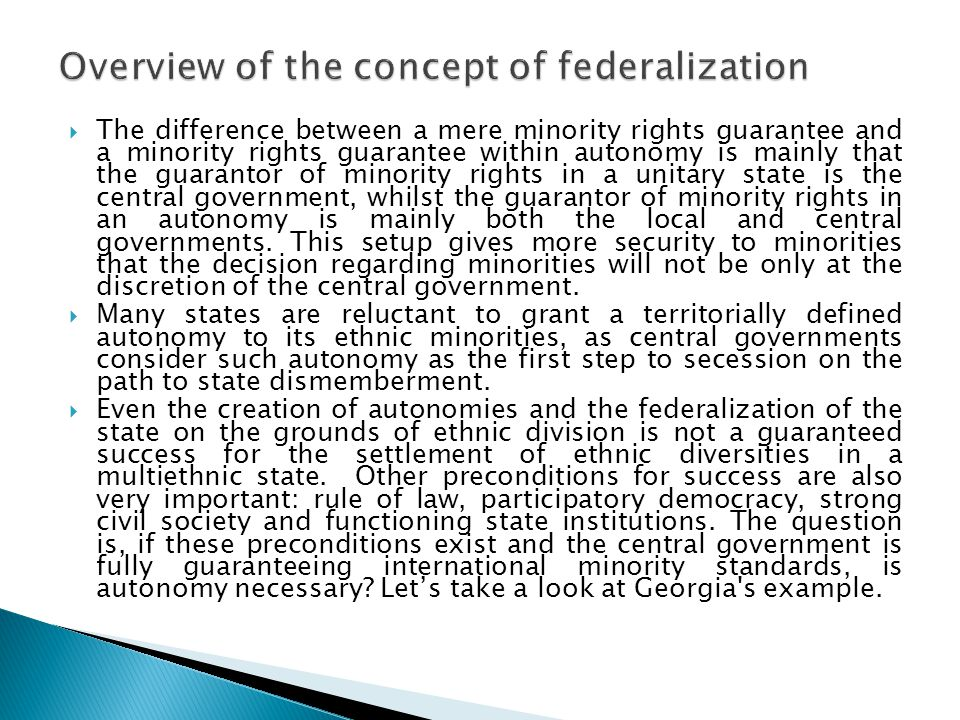 Overview of the concept of federalization