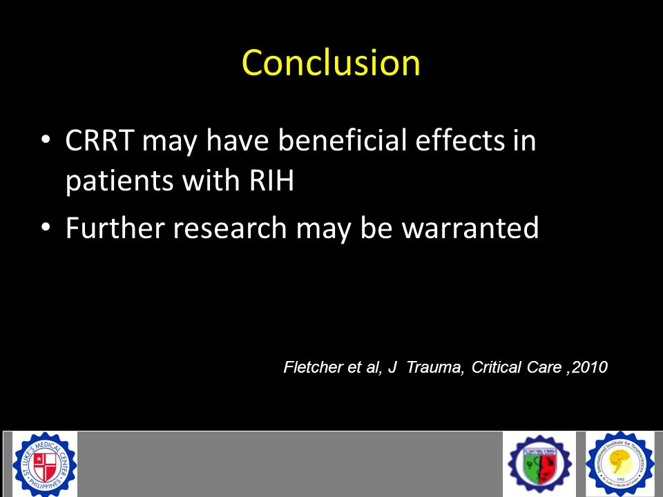 Conclusion CRRT may have beneficial effects in patients with RIH