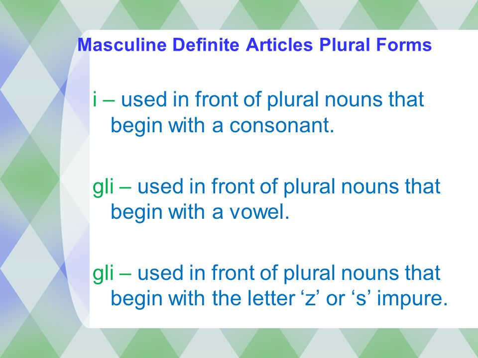 Masculine Definite Articles Plural Forms