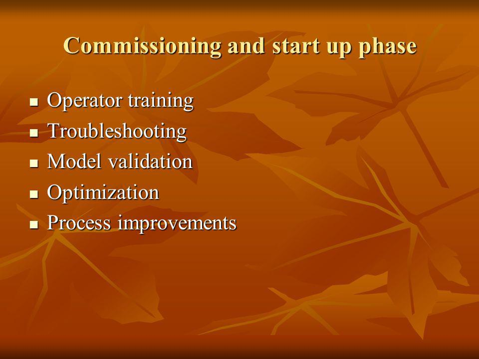 Commissioning and start up phase