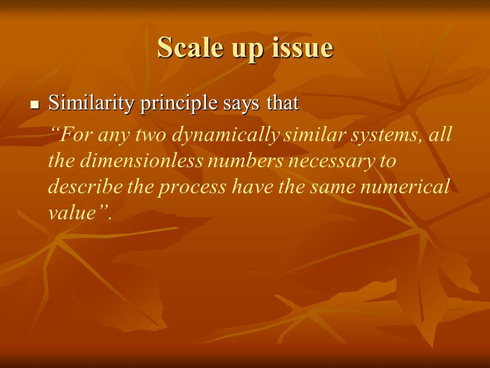 Scale up issue Similarity principle says that