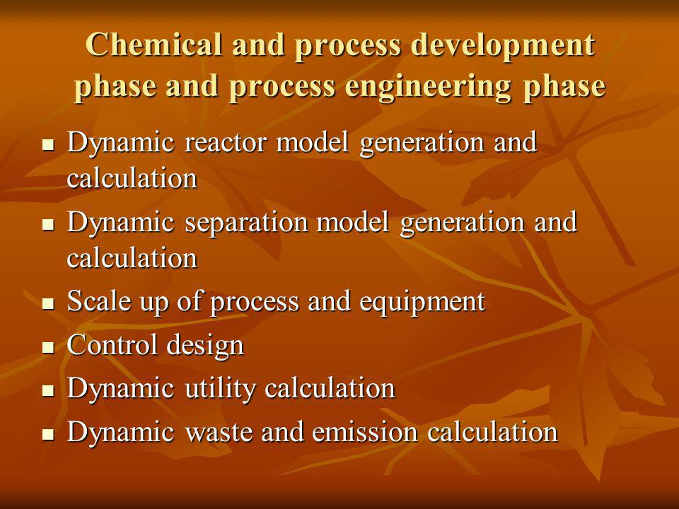 Chemical and process development phase and process engineering phase