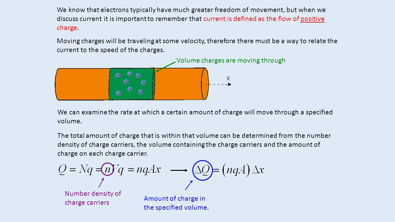 We know that electrons typically have much greater freedom of movement, but when we discuss current it is important to remember that current is defined as the flow of positive charge.