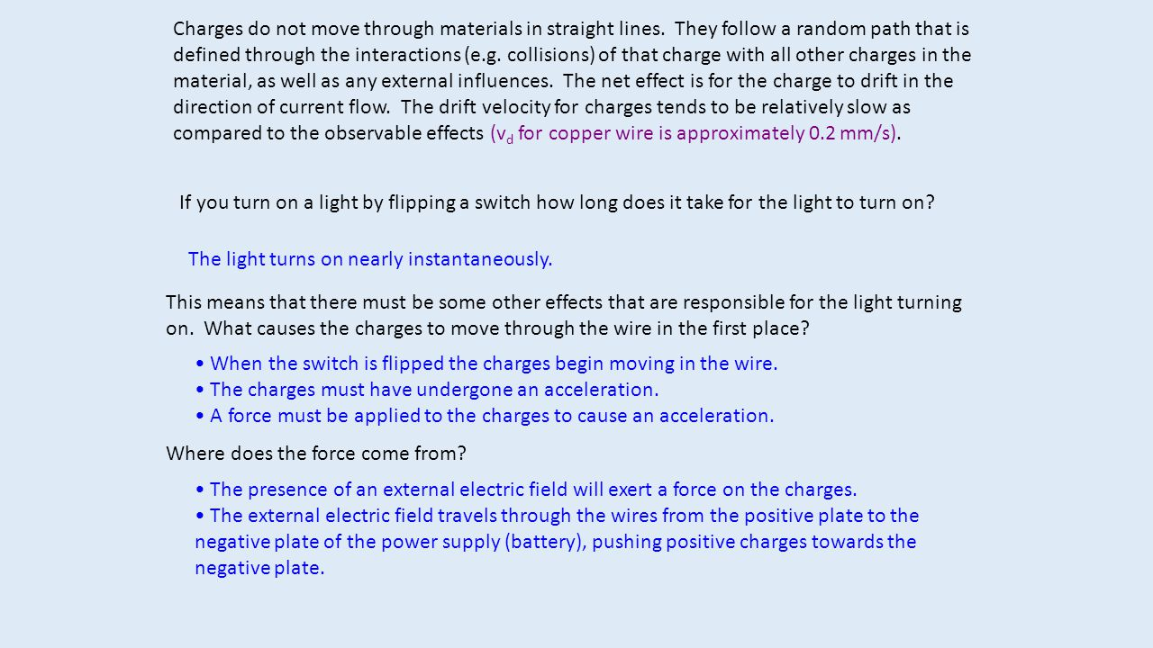Charges do not move through materials in straight lines