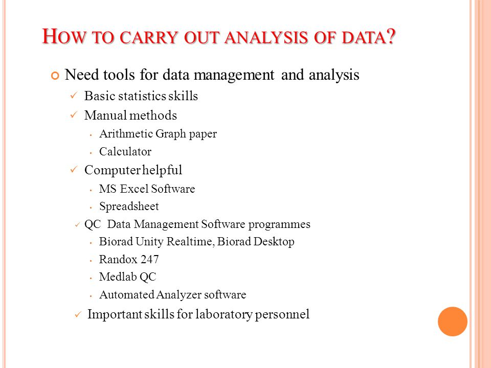 How to carry out analysis of data