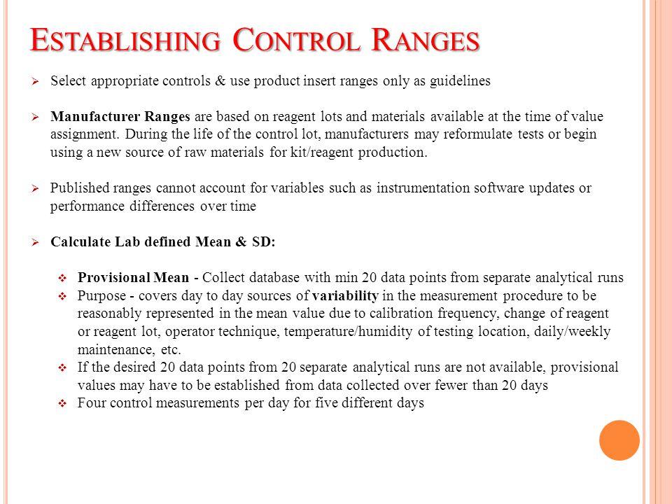 Establishing Control Ranges