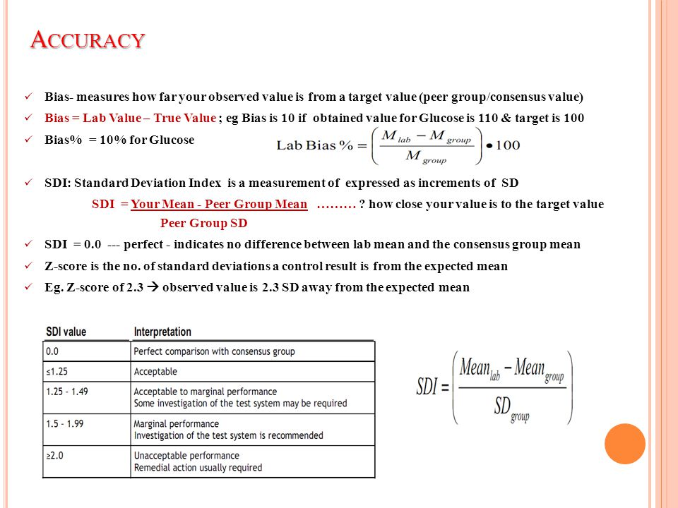Accuracy Bias- measures how far your observed value is from a target value (peer group/consensus value)