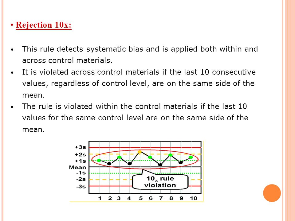 Rejection 10x: This rule detects systematic bias and is applied both within and across control materials.