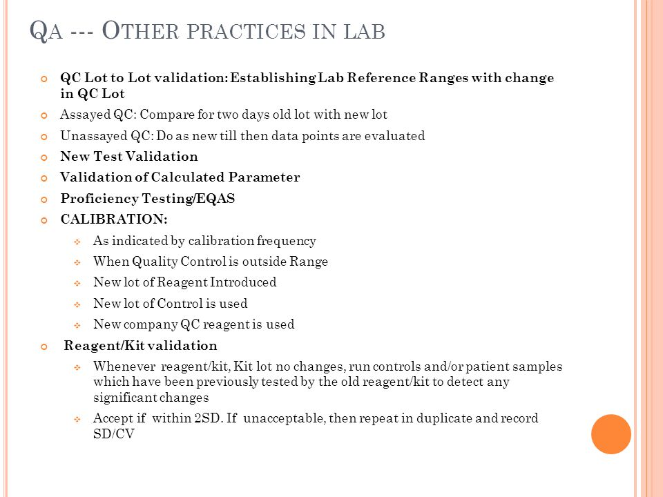 Qa --- Other practices in lab
