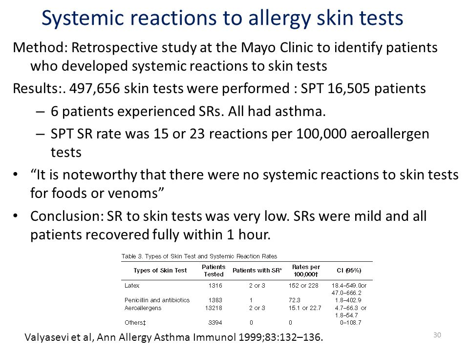 Systemic reactions to allergy skin tests