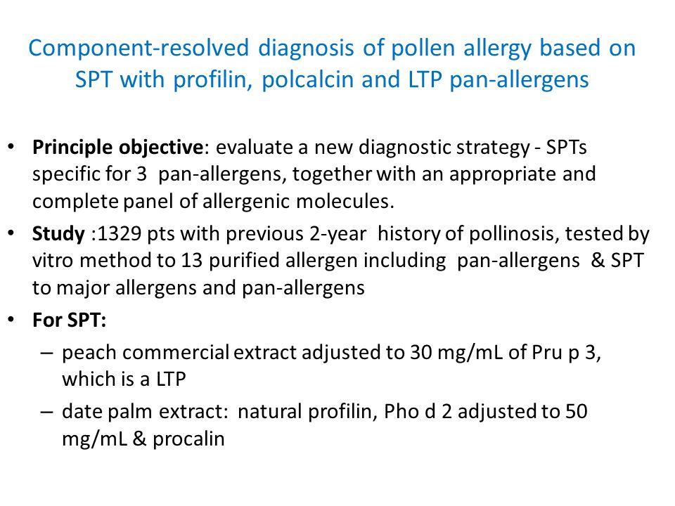 Component-resolved diagnosis of pollen allergy based on SPT with profilin, polcalcin and LTP pan-allergens