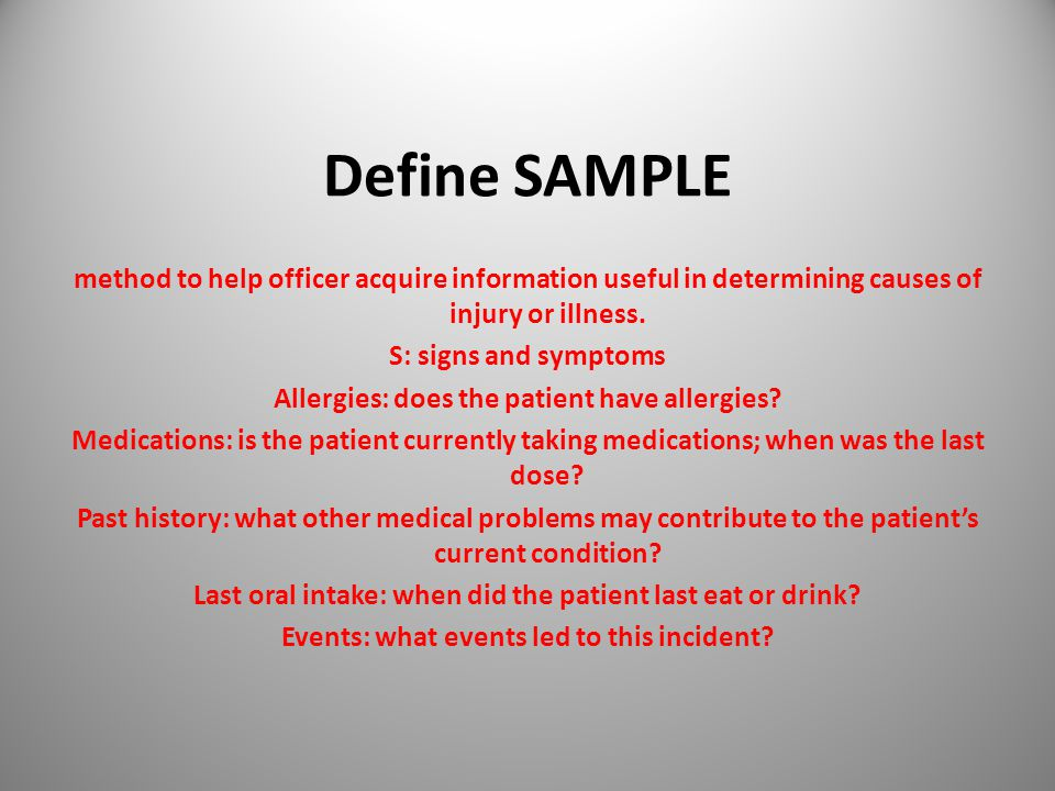 Define SAMPLE