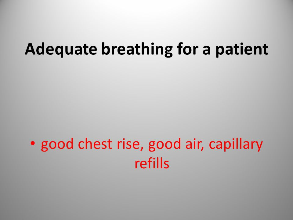 Adequate breathing for a patient