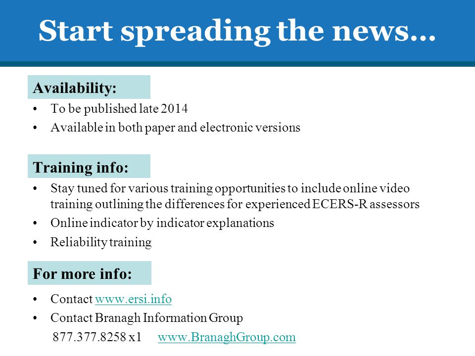 Start spreading the news…